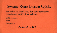 Radio England QSL card