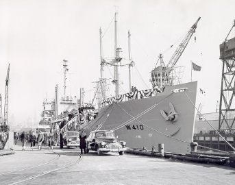 Courier on day of commissioning, February 1952